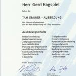 Urkunde TAM Gerri Hagspiel